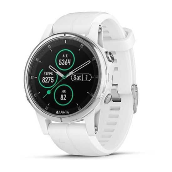 Picture of Garmin fenix 5s Plus Sapphire White with White Band - 12 άτοκες δόσεις