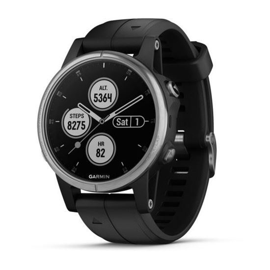 Picture of Garmin fenix 5s Plus Silver with Black Band - 12 άτοκες δόσεις